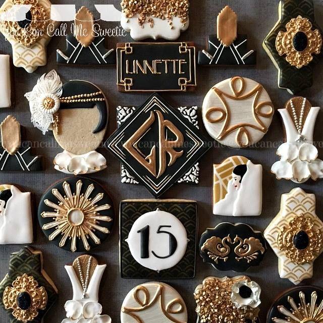 Great Gatsby Motto: Kekse in schwarz, Gold und weiß verleihen dieser Party ein ganz besonderes Flair! Cheers!!