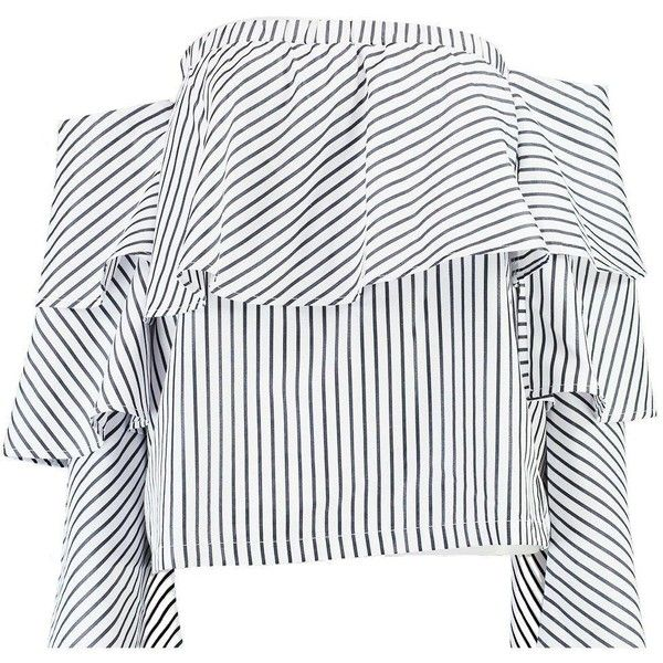 Boohoo Sabi Striped Ruffle Bardot Top ($35) ❤ liked on Polyvore featuring tops, jersey crop top, polka dot crop top, off the shoulder crop top, cropped tops and striped off the shoulder top