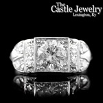 Vintage Illusion Mine European Cut Round Diamond 2 CTTW 14K WG Engagement Ring