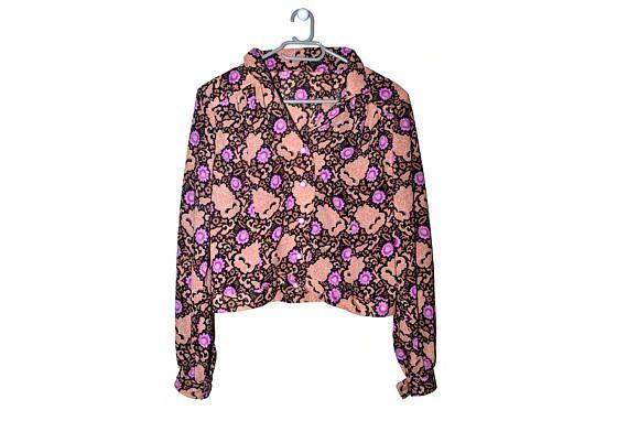Vintage Floral Button Up Blouse Brown Black Purple Bohemian