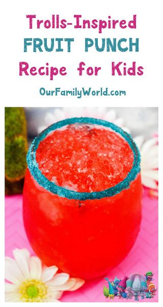 Looking for a fun drink for family film night? Check out this Trolls movie 2016 punch recipe for kids, made with healthier ingredients like coconut water!