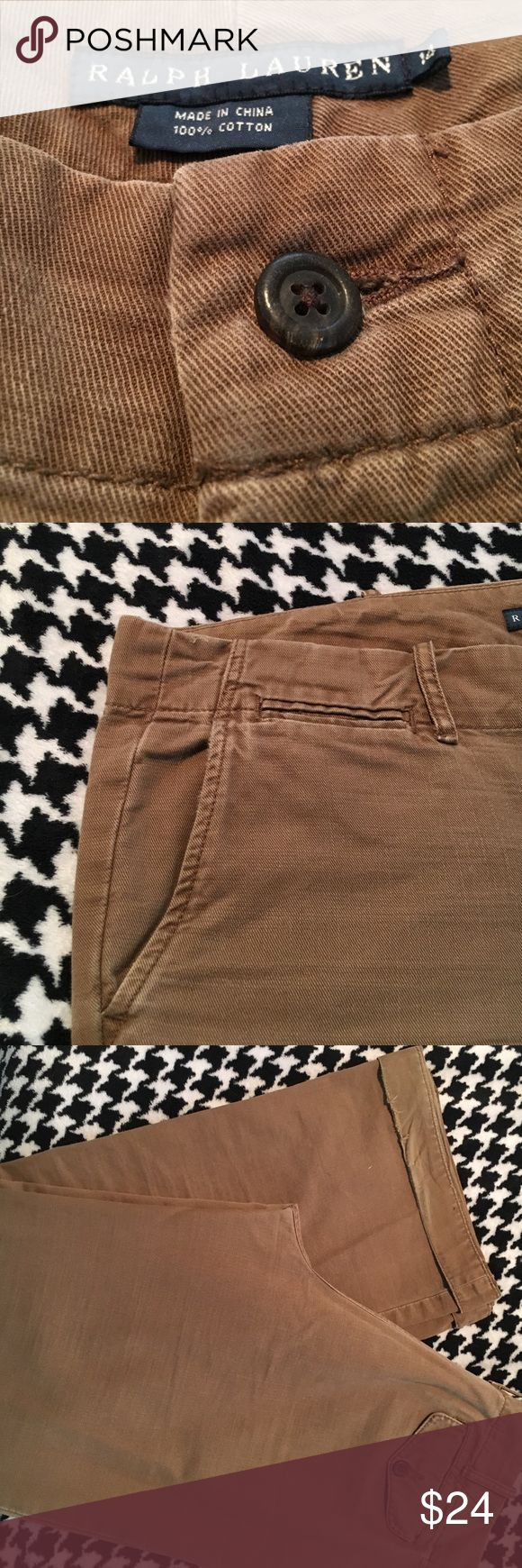 """Brown Ralph Lauren Trouser Chinos Sz 14 Button Closure. Flap pockets. About 30"""" inseam cuffed how i wore them sometimes & almost 32"""" uncuffed. There is some wear from wearing them both ways- shown in picture. Let me know if you have any questions. Ralph Lauren Pants Trousers"""