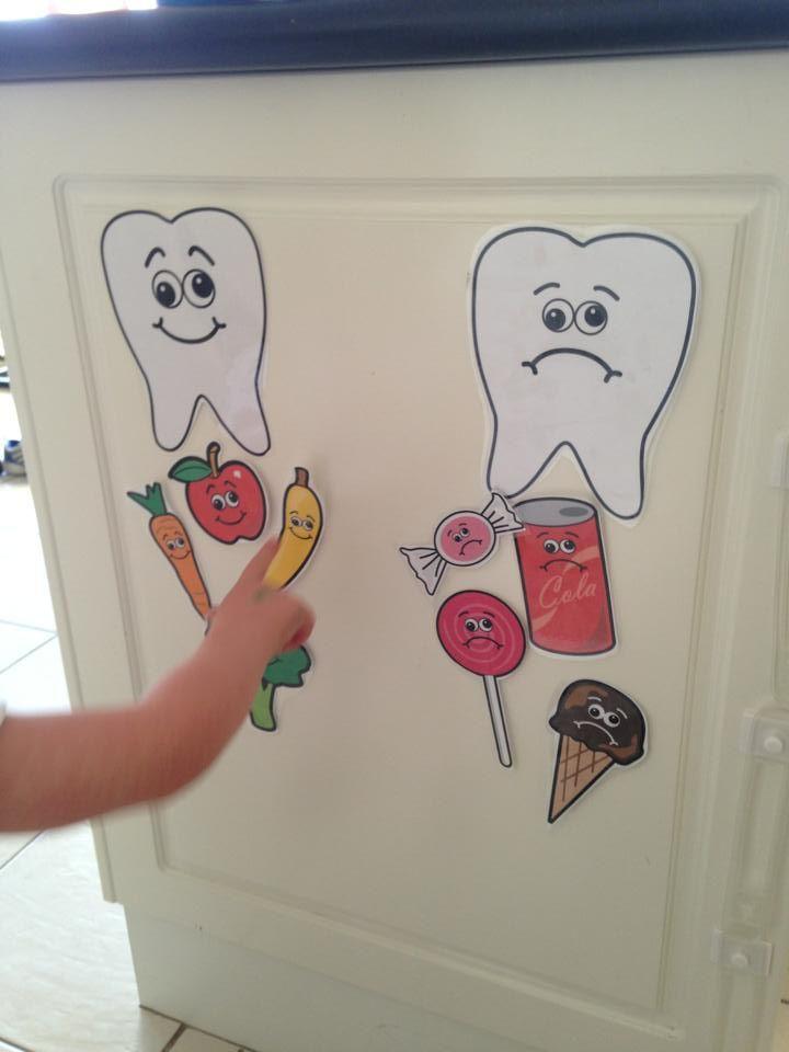 Boa forma de ensinar as crianças sobre os alimentos bons e mãos para os dentes e os cuidados a ter com eles