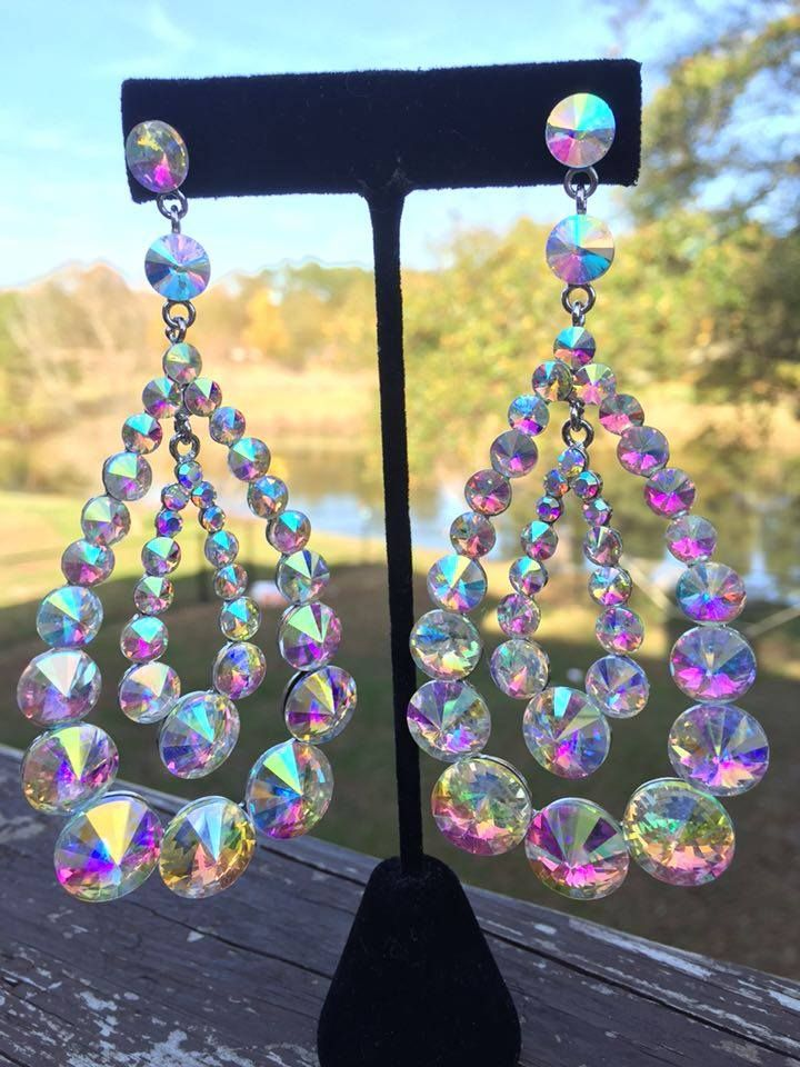 """If you need some huge beautiful AB earrings your hunt is over! Check these out! 4"""" long #earrings #abearrings #pageantearrings #blingearrings #abpageantearrings #abblingearrings #blingearrings #blingjewelry #lmbling #statementearrings #longearrings #largeearrings #chunkyearrings #bigearrings"""