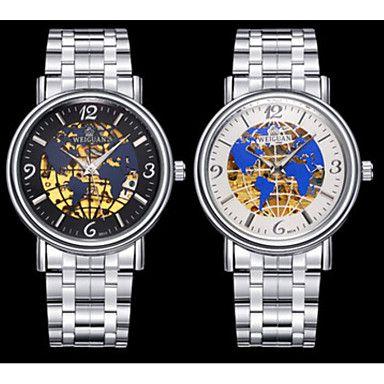 Herren Kleideruhr / Mechanische Uhr Automatikaufzug Kalender / Wasserdicht / leuchtend Edelstahl Band Bequem / Weltkarte Muster Gold Marke 5239749 2016 – €22.53