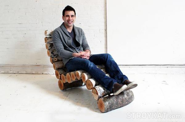Как сделать кресло из березового бревна