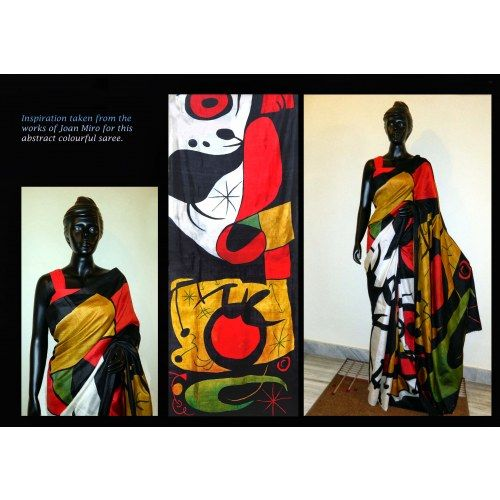 Bishnupur Sonamukhi Silk Hand Painted Saree Inspired from Joan Miro Painting - Online Shopping for Silk Sarees by Crystelle Boutique