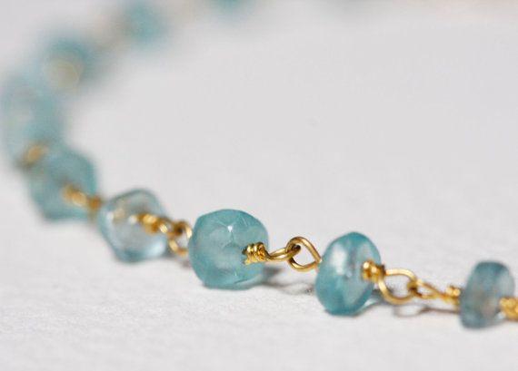Mint Bracelet Delicate Stone Bracelet Wire Wrapped by MinimalVS