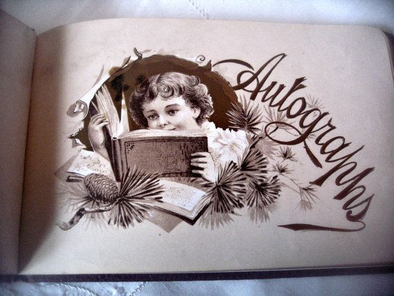 Antique autograph book, burgundy cover gold embossed cover, antique calling cards, Victorian era album, floral album, Victorian autographs