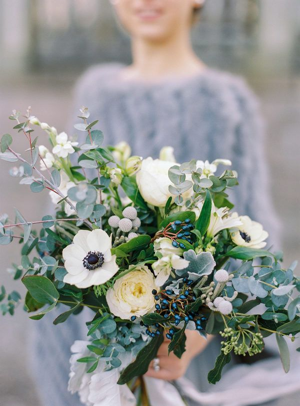 Wedding Flowers White And Dusty Blue And Green Greenery