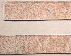 Detail from the Maasiek embroideries, 9th c.  Earliest surviving examples of Anglo-Saxon embroidery