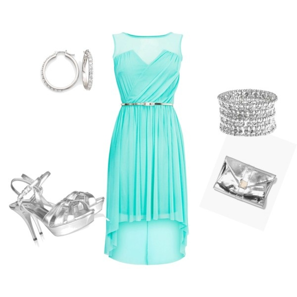 """""""Aqua Dress and silver acessories"""" by honeybee20 on Polyvore"""