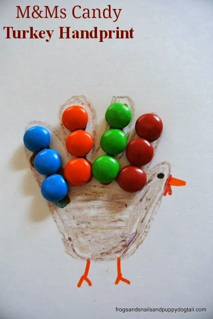 M&Ms Candy Turkey Handprint- Thanksgiving crafts for kids by FSPDT