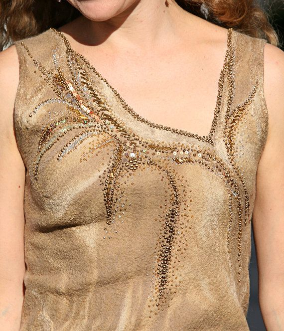 Eco style fashion one of a kind hand felted seamless evening dress with golden bead embroidery for a special occasion. Will fit size 0 - 6. As all my