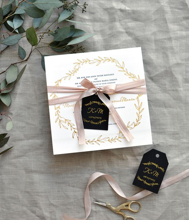 Black, White, And Gold Foil Destination Wedding