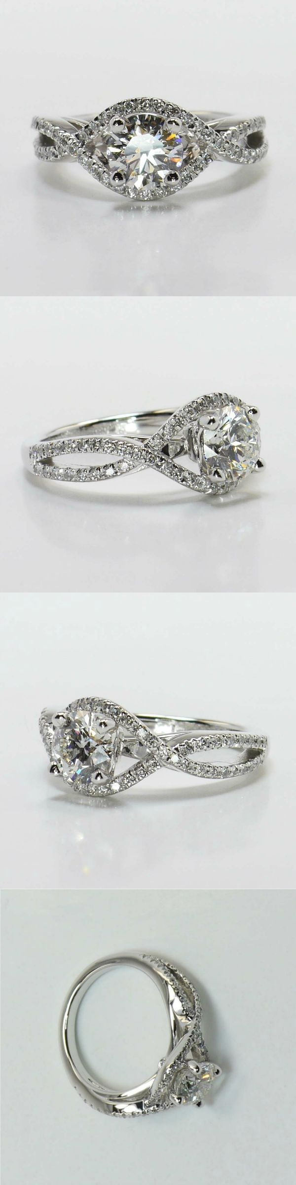Cross Split Shank Diamond Ring in White Gold! Diamond/Gem Cost: $4,623 (Round 0.90 Ctw. Color: G Clarity: SI1 Cut: Super Ideal) Setting Cost: $1,195 This unique swirl engagement ring features pave set diamonds on interlocking bands surrounding the center stone. Metal: White Gold Side Shape: Round Side Carat: 0.40 Setting Type: Pave! Total Cost: $5,818 https://www.brilliance.com/recently-purchased-rings/cross-split-shank-diamond-ring-white-gold