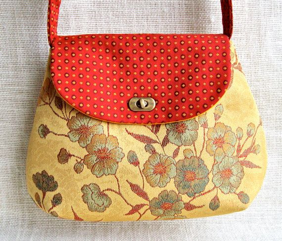 Crossbody Bag- Handmade Fabric Purse in Red and Mustard.  Love the colors & tapestry fabric.