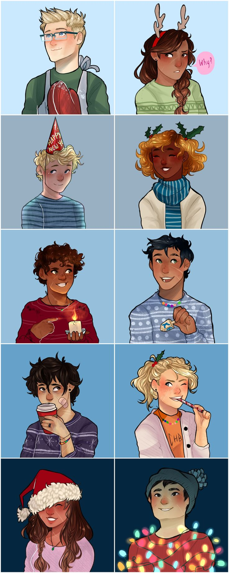 Holiday icons!!! from top to bottom: Jason, Reyna, Will, Hazel, Leo, Percy, Nico, Annabeth, Piper and Frank