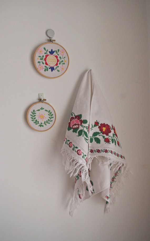 Vintage hand embroidered roses cross stitch wall hanging
