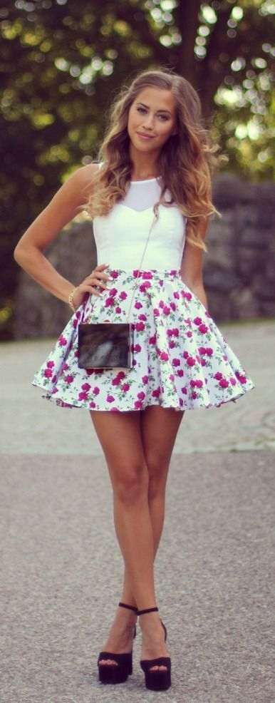 208 Cute round floral mini skirt with white top ..