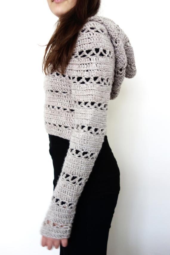 Sweater Crochet PATTERN - Hooded Cropped Sweater/ Chunky Knit Shrug/Fit  Crop Top/Over-Bust Short Sweater | Patrones de suéter de ganchillo,  Patrones de suéter, Hombreras ganchillo
