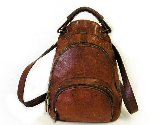 Vintage M London Brown Leather Backpack USA by KMalinkaVintage