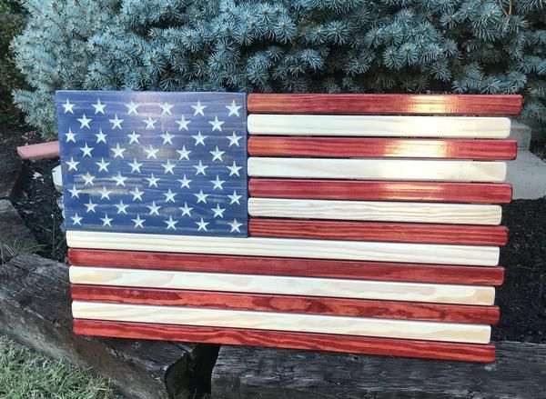 3ft Wood Red White And Blue Stained American Flag Blue Wood Stain American Flag Wood Staining Wood