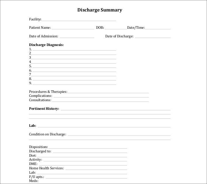 10 Discharge Summary Templates