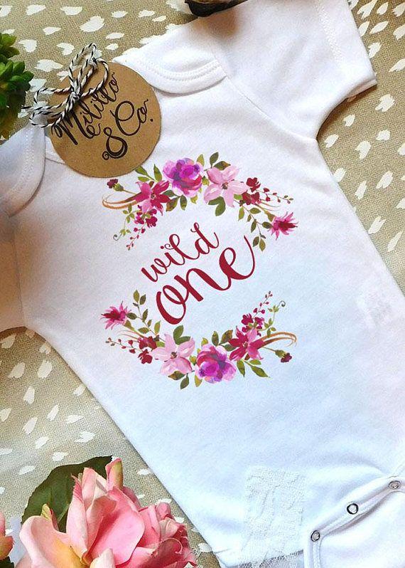f6767e5407b6a Wild One Bodysuit,First Birthday Bodysuit,Boho Birthday Onesie®,Baby Girl  1st