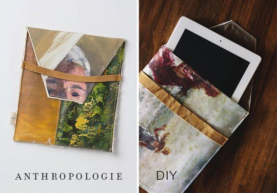 Make an iPad case out of canvas! Print out your own artwork on canvas for the Banner printer ($13/foot), and put some basic sewing skills to good use!