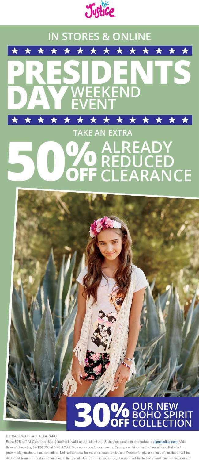 Pinned february 10th extra 50 off clearance at justice ditto online coupon