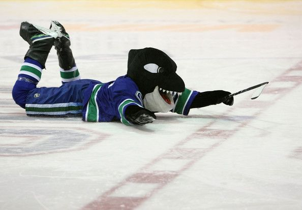 Vancouver Canucks mascot, Fin the Whale  Looks like he's diving...just saying