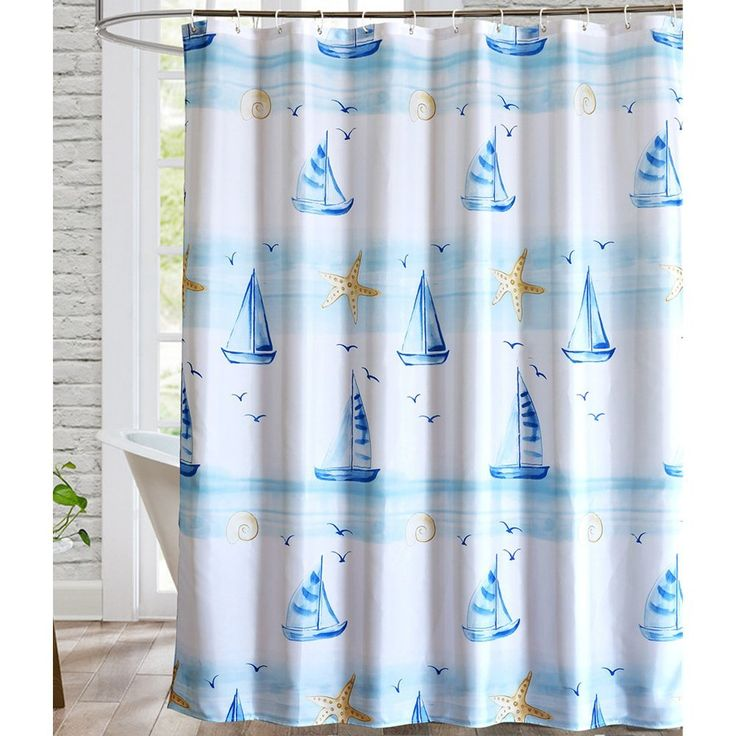 Bathroom shower curtains - Nautical themed sailboat design. Visit us for more information and where to buy!