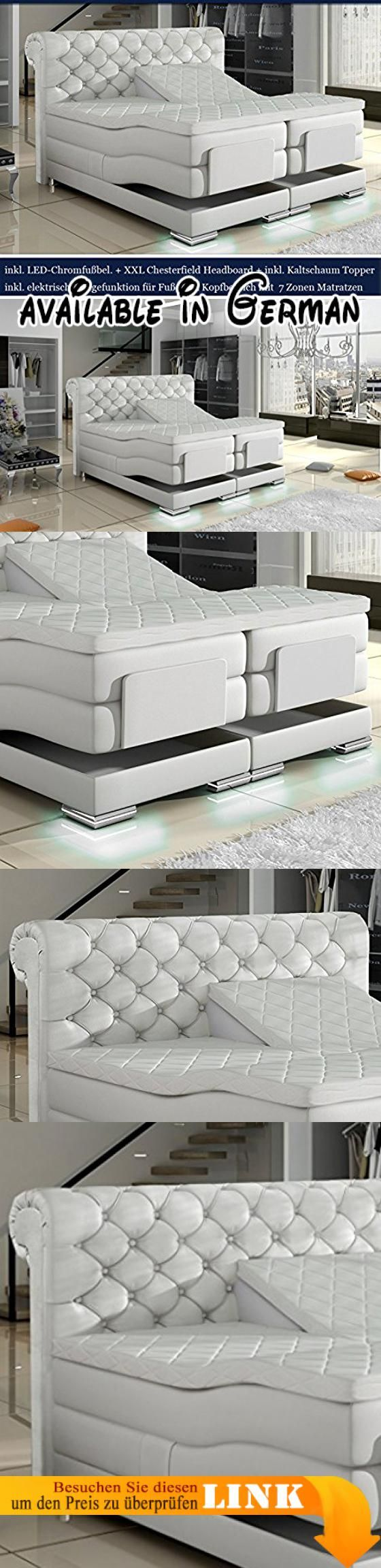 B01IRD6JLK : XXL MANCHESTER Boxspringbett mit Elektrischer Liegefunktion Designer Boxspring Bett Chesterfield LED WEISS CHESTERFIELD DESIGN (180x200cm Weiss Kunstleder).