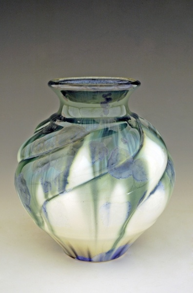 Flambeaux Art Pottery by Bill Campbell  With this crystalline glaze, no two pieces are alike.
