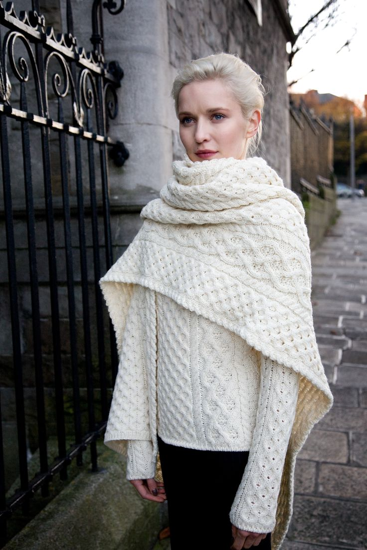 Aran wrap and sweater by Irelands Eye Knitwear Irish knitwear design. Autumn Winter collection 2015/16