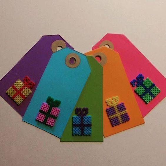Christmas gift tags hama mini beads by kaldermigbaremarie: