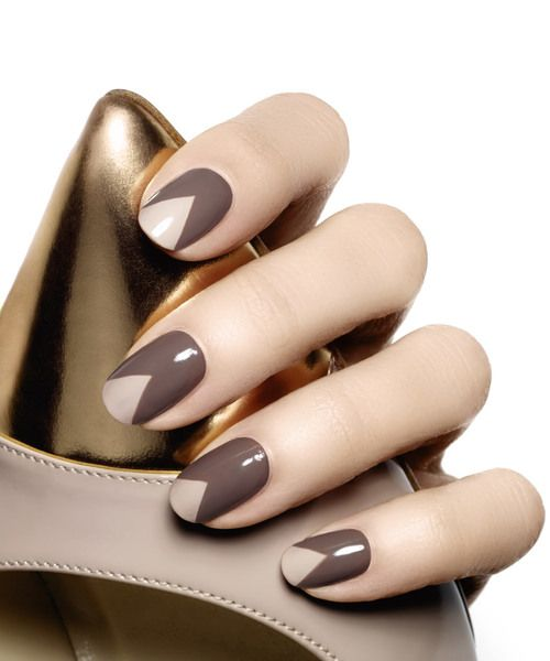 brown nail polish with triangle tips