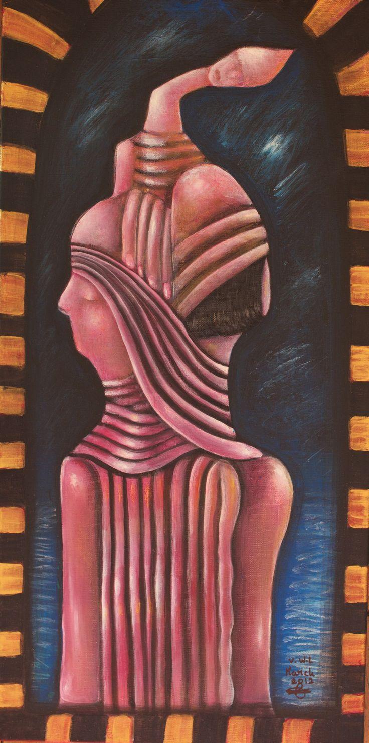 """VWL/Face/005  (Paris 2012 """"Tourmented Souls"""")-Acrylic on canvas/Acrylique sur toile/Acrylico sobre tela (30X60cm)"""