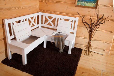 Niezbędna do przedpokoju, niezawodna w niewielkiej kuchni, biała rustykalna ławka narożna  #dekoracje #rustykalne #białe #ławki #meble #sosnowe