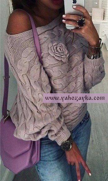 Пуловер на одно плечо спицами. Модный пуловер спицами узором из поперечных кос