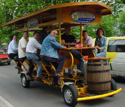 I saw one of these in action while on a combined Press Trip to Antwerp and Brussels! The driving wasn't up to much tho' 'cos they were all completely Pissed!!! LoL!!!! :D x Bike bar in Amsterdam. Really cool!!!