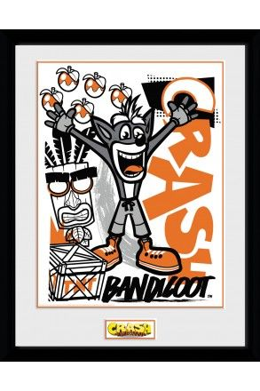 Crash Bandicoot Arms Up Framed Collector Print