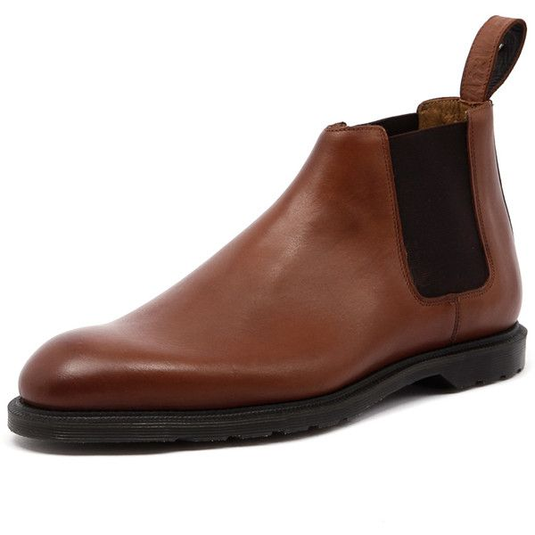 Dr. Martens Men's Wilde Low Chelsea Boot Oak Temperley (200 CAD) ❤ liked on Polyvore featuring men's fashion, men's shoes, men's boots, mens pull on boots, mens slip on boots, mens fur lined boots, mens slip resistant shoes and mens leather boots