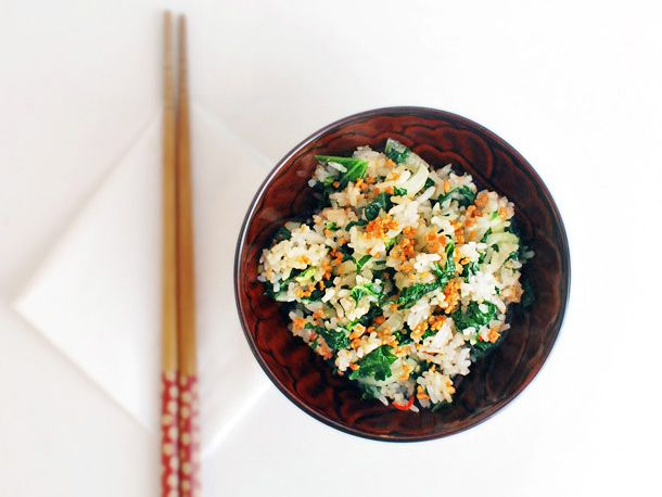 Bok Choy and Kale Fried Rice With Fried Garlic #recipe
