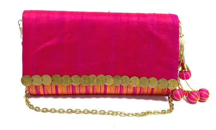Indian Women Girl wedding Party Hot Pink Envelope Clutch Wallet Purse Xmas Sale #ClutchBag