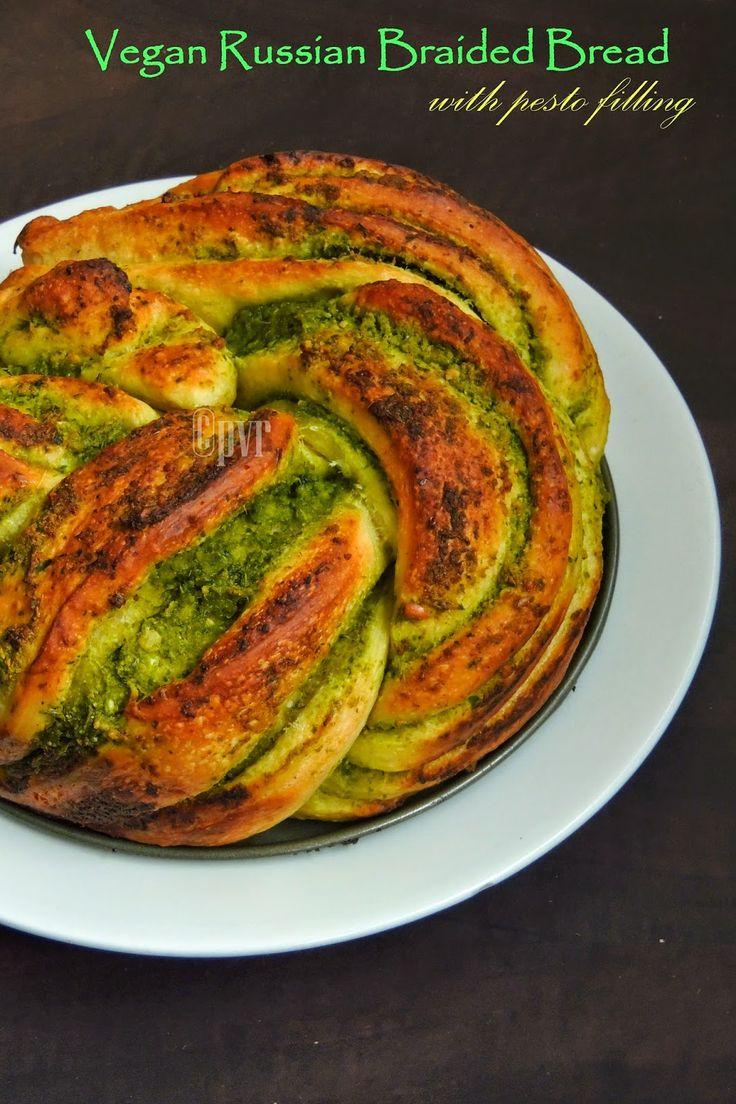 Vegan Russian Braided Bread with Pesto Filling