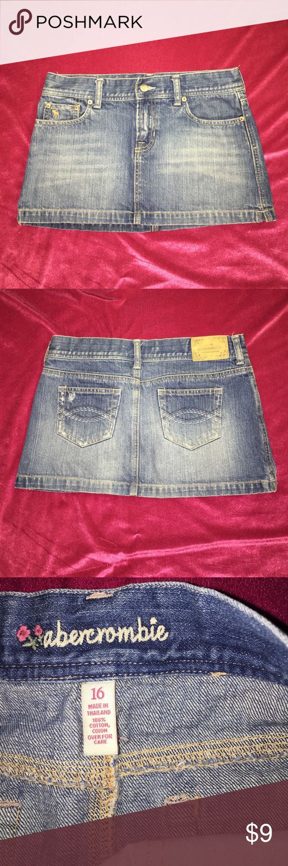 """Abercrombie Girls Jean Skirt Cannot model this skirt because it's 2"""" big on me. Abercombie Kids Skirts Mini"""