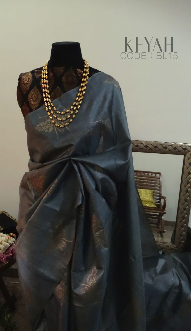 SOLD StunningTUSSAR SILK Saree highlighted with antique gold hand prints.