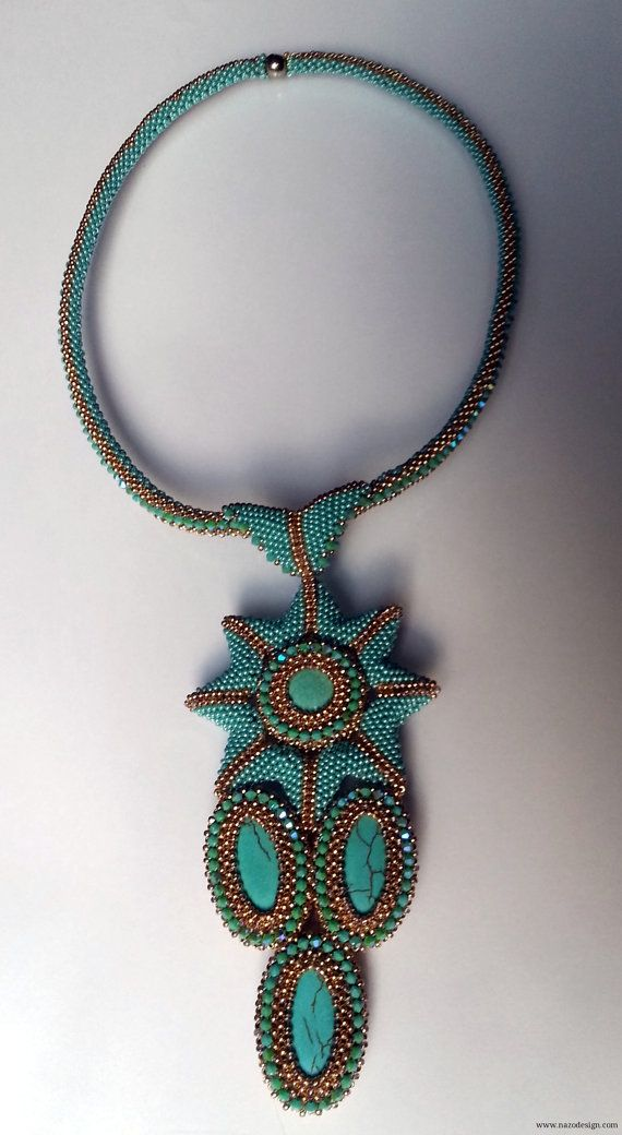 Beaded  Necklace Nazo Weaving II TechniqueStar by NazoDesign, $250.00